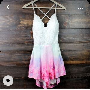 New White and watercolor tie dye romper